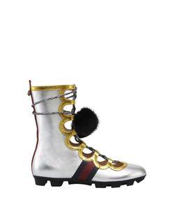 Gucci | Ботинки Из Металлизированной Кожи