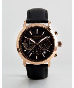 Sekonda | Часы Цвета Розового Золота С Хронографом И Черным Кожаным Ремешком