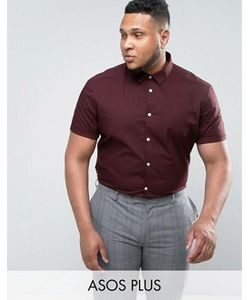 Asos | Бордовая Рубашка Узкого Кроя С Короткими Рукавами Plus