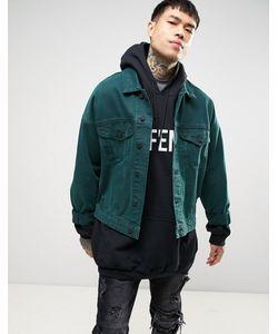 Asos | Свободная Джинсовая Куртка Зеленого Цвета