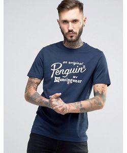 Original Penguin | Темно-Синяя Узкая Футболка С Надписью В Виде Логотипа