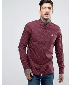 Pretty Green | Shirt With Polka Dot In Slim Fit Burgundy