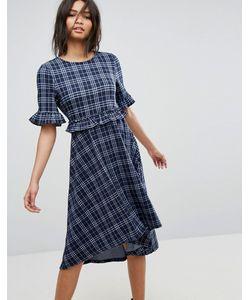 Vero Moda   Платье Миди В Клетку С Асимметричным Подолом