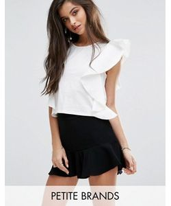 Missguided Petite | Asymmetric Frill Top