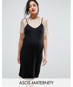 ASOS Maternity | Платье На Тонких Бретельках С Кружевным Нижним Слоем