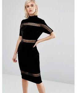 LOST INK | Бархатное Платье С Высоким Воротом И Отделкой Лесенка