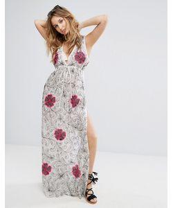 Liquorish   Пляжное Платье С Глубоким Вырезом И Цветочной Вышивкой