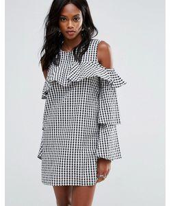 MISSGUIDED | Платье В Клеточку С Открытыми Плечами И Оборками