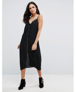 Goldie | Trippin Chiffon Midi Length Slip Dress With Lace Up Front