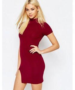 MISSGUIDED | Облегающее Платье В Рубчик С Высокой Горловиной
