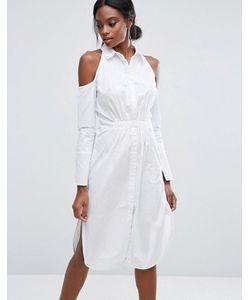 Lavish Alice | Хлопковое Платье-Рубашка С Вырезами На Плечах