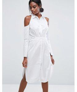 Lavish Alice   Хлопковое Платье-Рубашка С Вырезами На Плечах