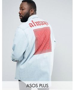 Asos | Джинсовая Рубашка Навыпуск С Принтом На Спине Plus