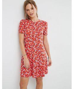 Asos | Чайное Платье Мини С Цветочным Принтом
