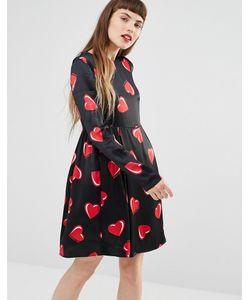 Love Moschino | Платье С Длинными Рукавами И Принтом Сердец