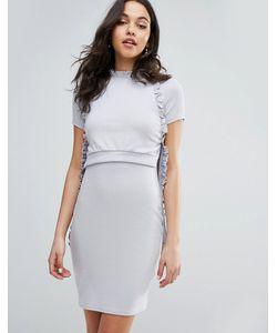 LOST INK | Ярусное Платье В Рубчик С Оборками