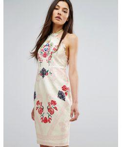 Comino Couture | Платье Миди С Халтером И Принтом