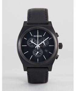 Nixon   Черные Часы С Кожаным Ремешком И Хронографом Time Teller