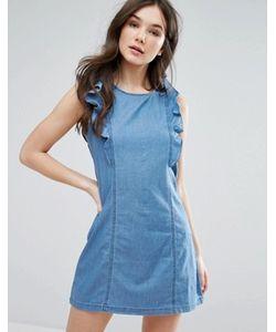 Qed London | Джинсовое Платье С Оборками На Рукавах