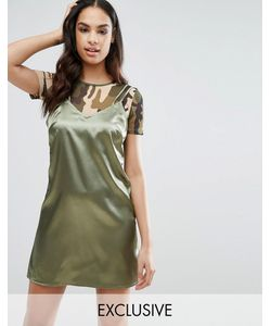 NaaNaa | Атласное Платье Мини С Сетчатым Топом