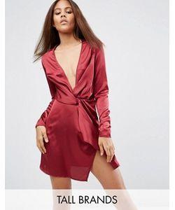 Missguided Tall | Цельнокройное Платье С Запахом И Глубоким Декольте