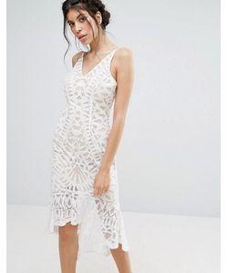 Love Triangle | Lace Bodycon Dress With Peplum Hem