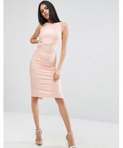 Asos | Облегающее Бандажное Платье Миди С Высоким Воротом
