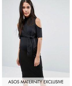 ASOS Maternity | Платье Миди С Вырезами На Плечах И Завязкой Сбоку
