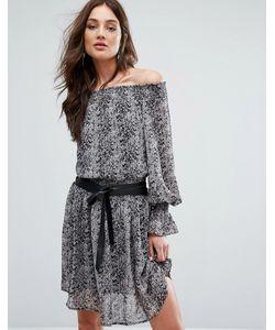 Y.A.S. | Платье С Открытыми Плечами И Принтом Под Кожу Питона Y.A.S