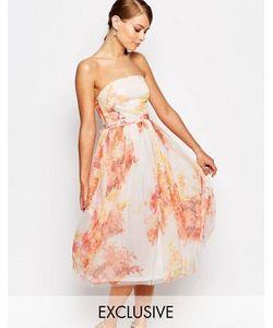 True Violet | Платье Миди Для Выпускного Из Тюля С Цветочным Принтом