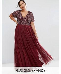 Lovedrobe Luxe | Тюлевое Платье Макси С Vобразным Вырезом И Пайетками