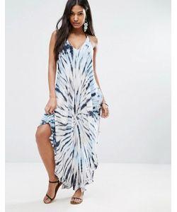 Surf Gypsy | Синее Пляжное Платье С Принтом Тай-Дай