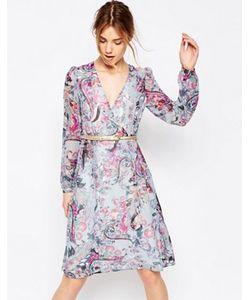 Uttam Boutique | Платье С Длинными Рукавами Принтом Пейсли И Запахом