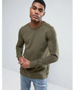 BLACK KAVIAR | Sweatshirt In With Sleeve Detail