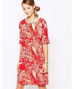 ICHI | Цельнокройное Платье С Короткими Рукавами И Растительным Принтом