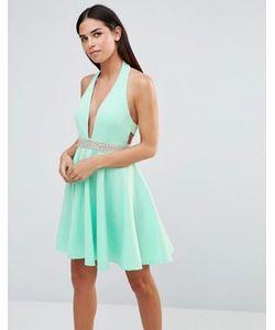 Club L | Платье Для Выпускного С Лямкой Через Шею И Отделкой Стразами Club
