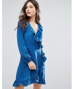 Qed London | Джинсовое Платье С Запахом И Рюшами