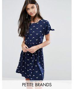Yumi Petite | Короткое Приталенное Платье С Птицами