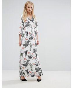 Vila | Платье Макси С Цветочным Принтом И Запахом
