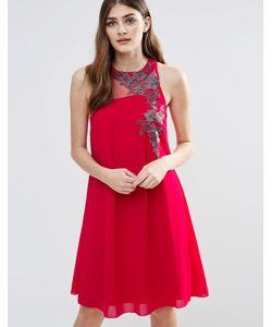 Little Mistress | Цельнокройное Шифоновое Платье С Вышивкой