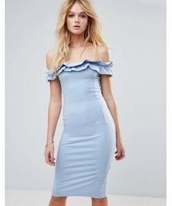Asos   Платье С Открытыми Плечами И Рюшами