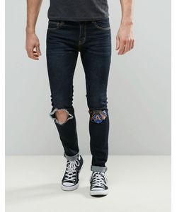 Always Rare | Dexter Super Skinny Jean Dark Wash Open Knee Badges