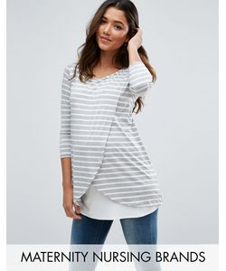 Bluebelle Maternity | Nursing Wrap Front Stripe Jersey Top