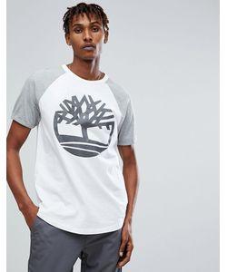Timberland   Бело-Серая Футболка Оверсайз С Рукавами Реглан И Светоотражающим Логотипом