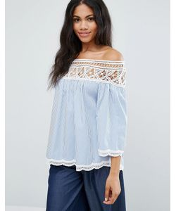 Liquorish | Long Sleeve Off Shoulder Smock Top With Lace Trim