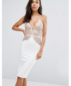 Rare | Платье-Футляр С Фигурным Кружевным Топом И Пайетками London