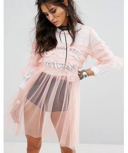 Glamorous | Свободное Полупрозрачное Платье С Отделкой Рюшами