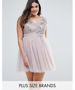 Little Mistress Plus | Приталенное Платье Со Свободной Юбкой И Отделкой Пайетками