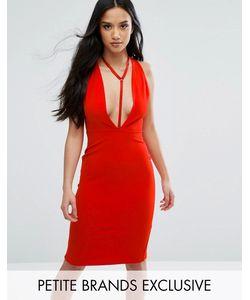 NaaNaa Petite   Облегающее Платье С Глубоким Вырезом И Отделкой В Восточном Стиле Naanaa