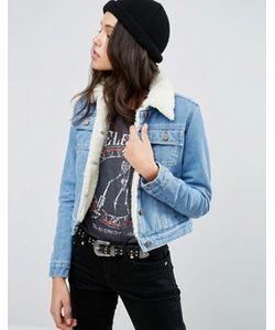 Asos | Синяя Укороченная Джинсовая Куртка На Подкладке Борг